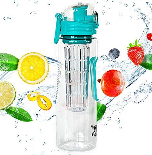 Leak-Proof Sport Fruit Infuser Water Bottle Top or Bottom Infusion Made of BPA-Free Eastman Tritan with Multiple Color Options /& Free Recipe Ebook Danum 23 oz Flip-Top Dual Hand Grips