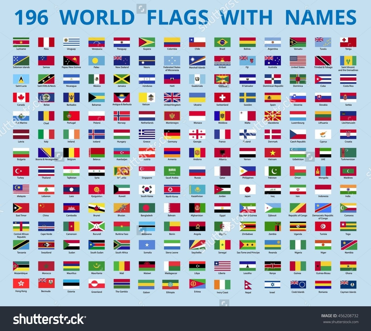 Flags Of The World With The Name Of The Country Vector Illustration Flags With Names World Flags With Names Flags Of The World