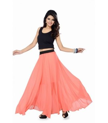cdadea6718 Peach Long Skirt With Smart Black Top | Women Clothings | Skirts ...