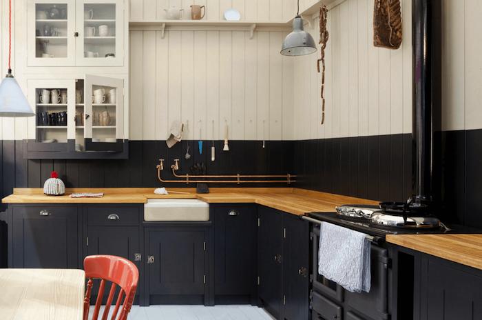 Cuisine noir mat et bois – élégance et sobriété   Meubles ...