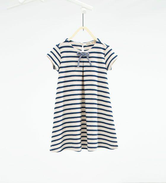 Imagen 1 de Vestido rayas lazo de Zara