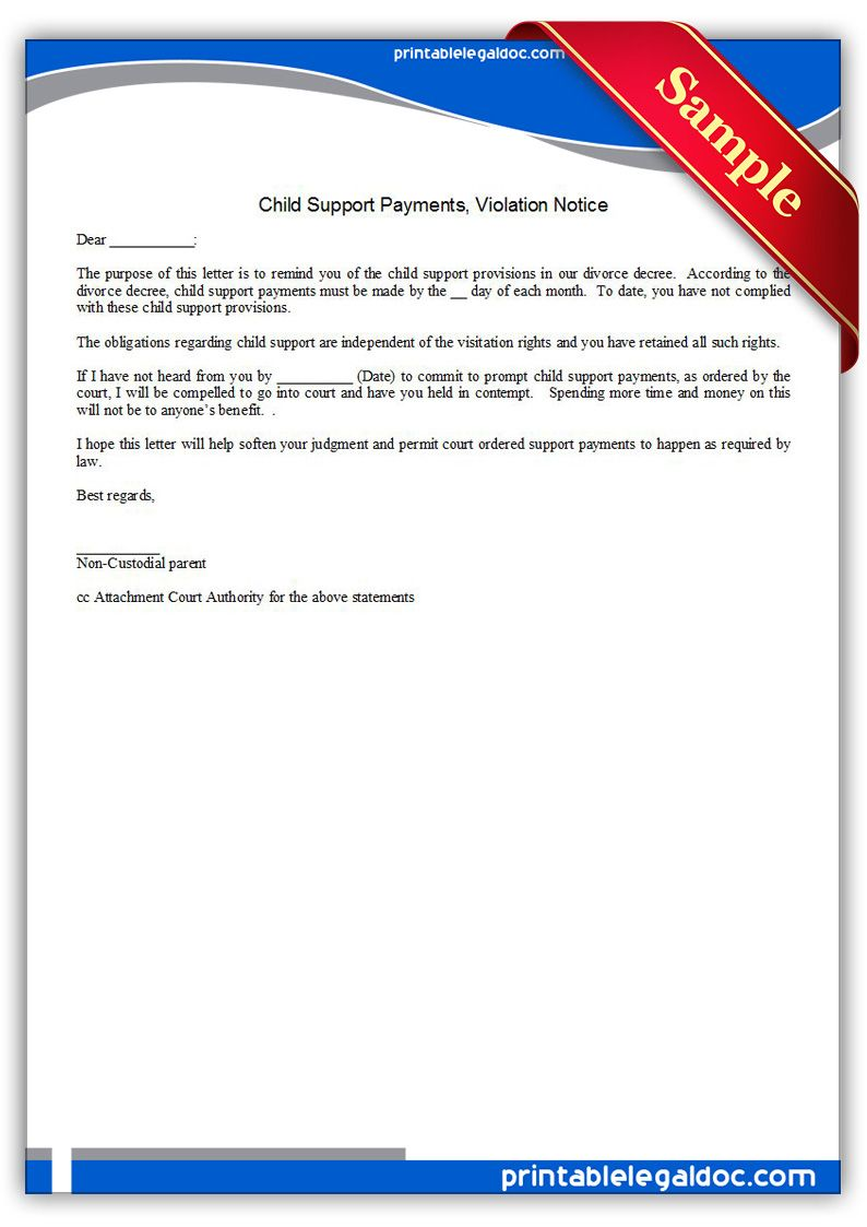 Free Printable Child Support Payments Viiolation Notice  Sample