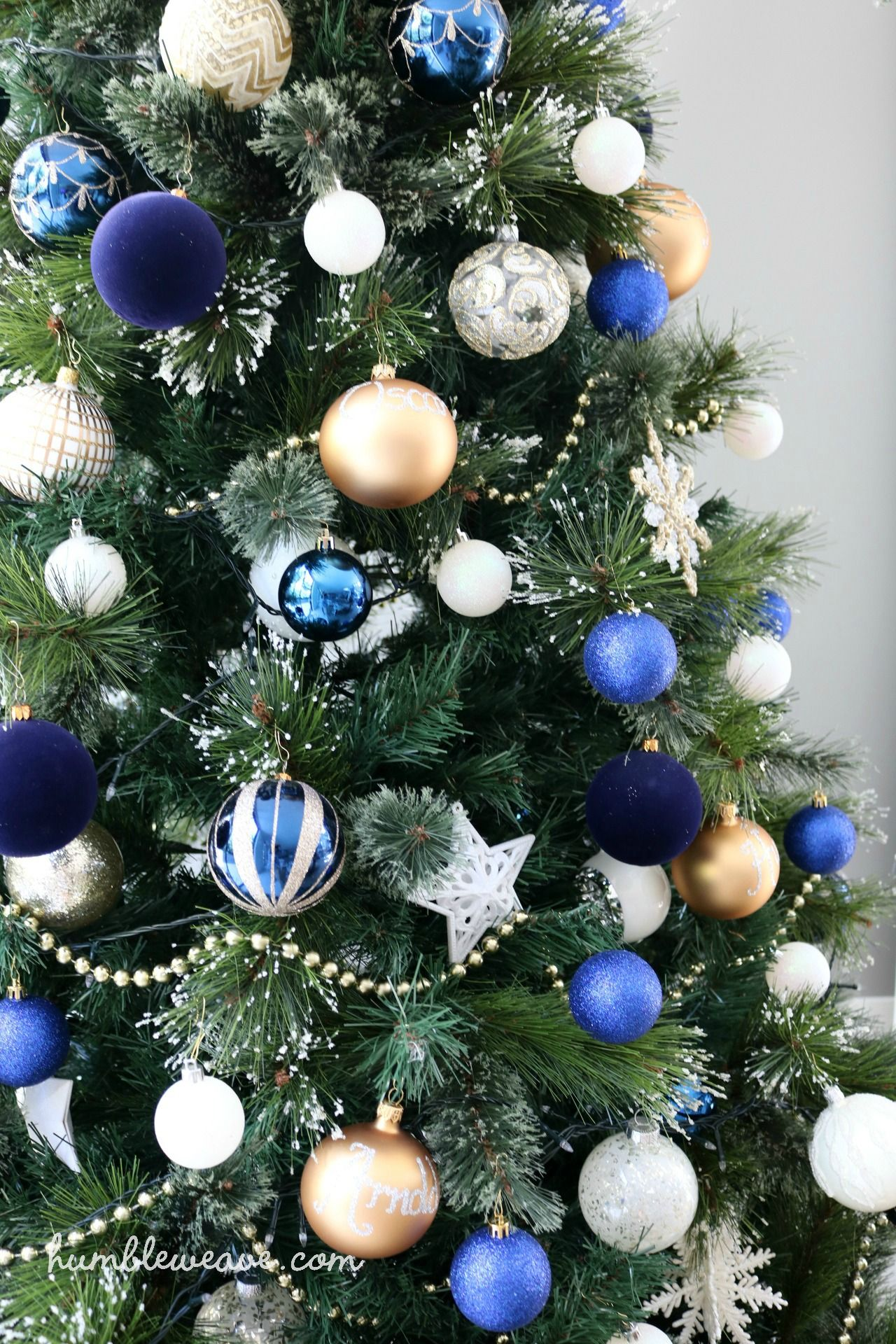 blue gold and ivory christmas tree humbleweave christmastree bluechristmastree goldchristmastree christmasdecorations christmas2016 - Navy And Gold Christmas Decorations