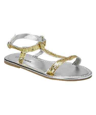54362ccdcdc7 Love this Gold Glitter T-Strap Sandal by Ositos Shoes on  zulily!   zulilyfinds