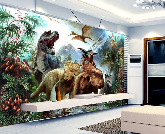 Décoration murale chambre denfant spéciale dinosaure papier peint personnalisé tapisserie numérique sur mesure