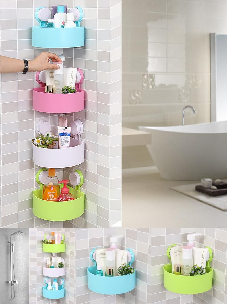 Plastic removable bath shelf wall mounted cosmetic holder storage -  Visit To Buy Qubabobo Wall Mounted Corner Storage Basket Kitchen Bathroom Holder Kitchen Shelves
