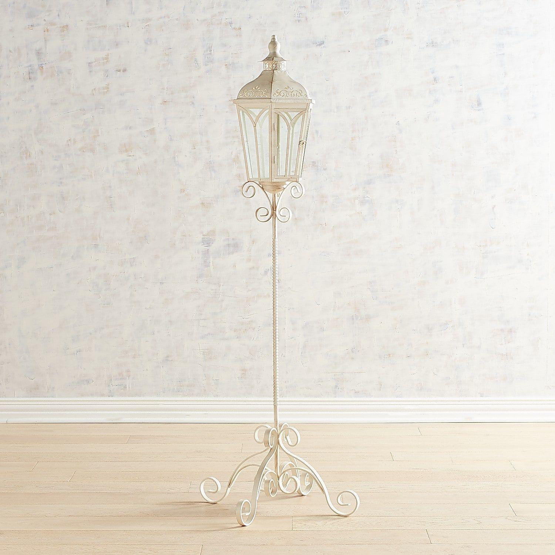 Extra Large White Metal Lamp Post Floor Lantern