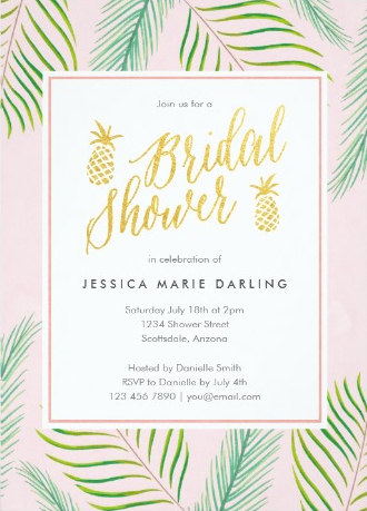 7 luscious tropical bridal shower invitations lets luau bridal tropical pink gold pineapple bridal shower invitations from zazzle filmwisefo