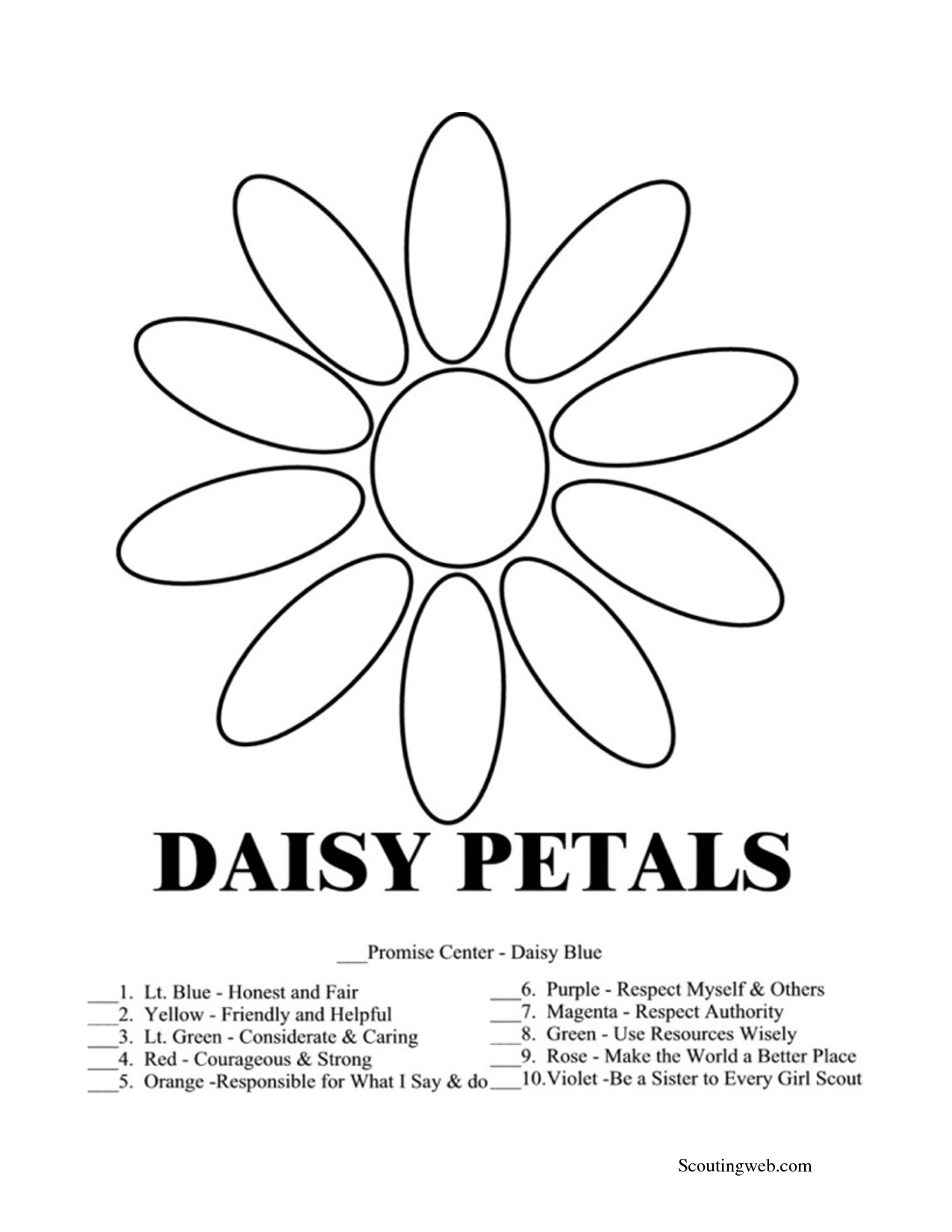 daisy girl scout coloring pages Daisy Petal Coloring Page | Daisy | Daisy girl scouts, Girl scouts  daisy girl scout coloring pages
