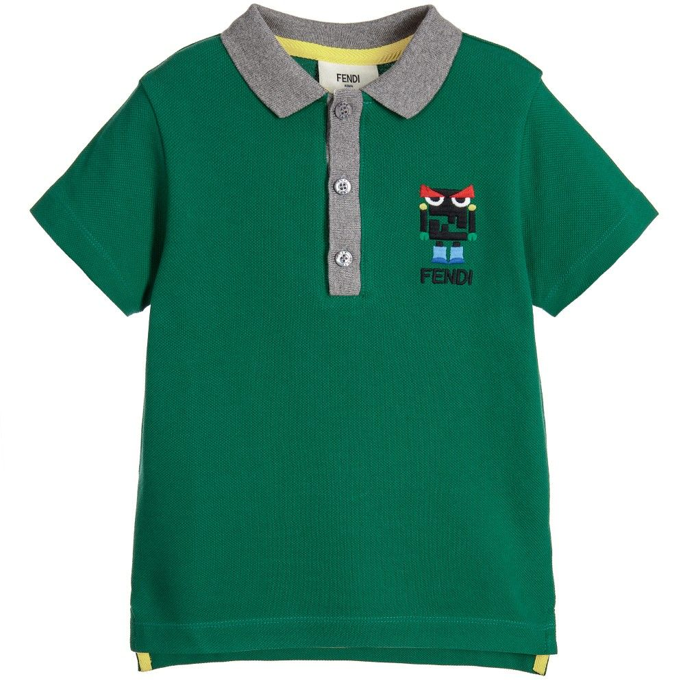 2a6ff3740049 Fendi - Boys Green  Monster Robot  Cotton Piqué Polo Shirt ...