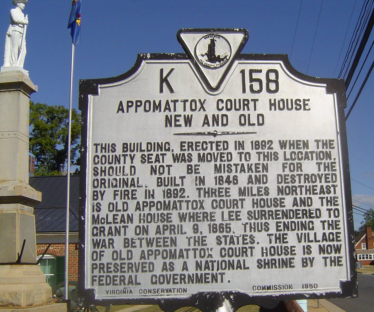 Historical Marker At The New Appomattox Courthouse Appomattox VA - Appomattox court house us map