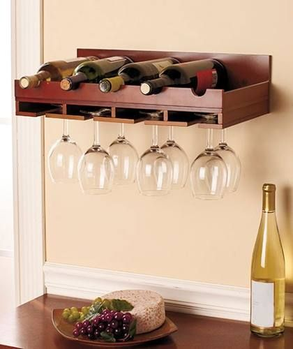 Cava porta botellas de vino y copas rack de pared for Estantes para vinos