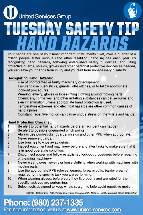 This week's Tuesday Safety Tip is about the Hand Hazards