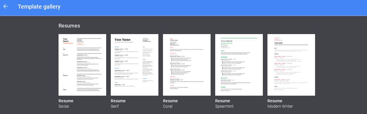 Drive Google Resume Google Doc Templates Resume Template