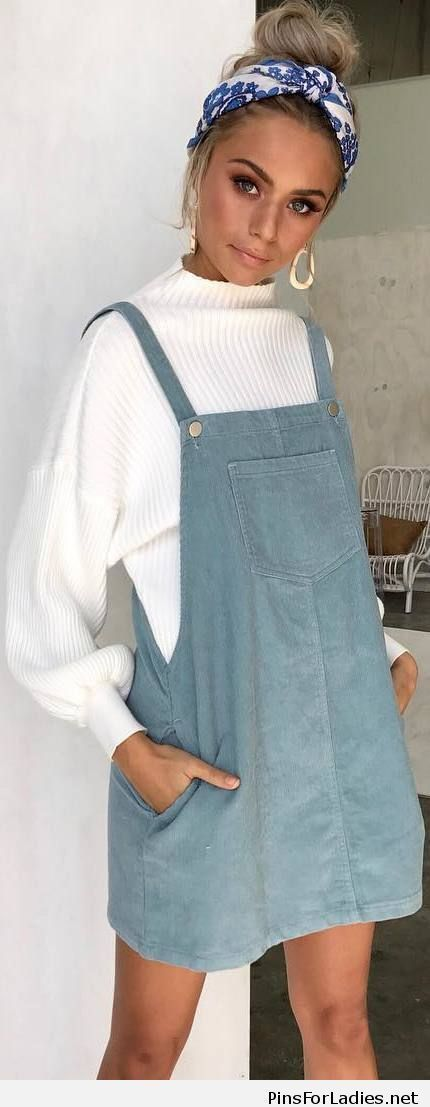 white blouse and blue overall dress with a blue and white headband. Visit Daily Dress Me at dailydressme.com for more inspiration women's fashion 2018, fall fashion, back to school outfits, casual outfits, mini dresses, women's blouses, winter outfits