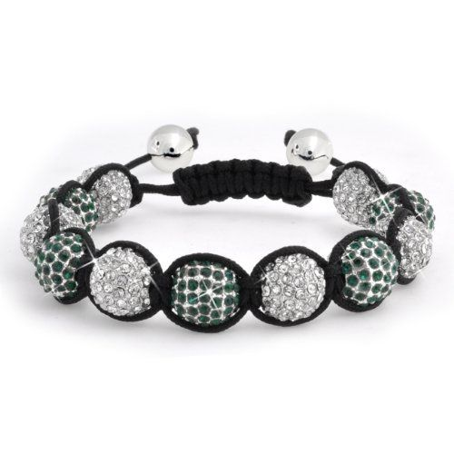 Bling Jewelry Cyber Shamballa Inspired Bracelet Unisex Green and Clear Crystal Beads 12mm Bling Jewelry. $14.99. Weighs 78.6 grams. Adjustable from 7-9.5 inches, weighs about 78.6 grams. Inspired by Shamballa Jewels. Green and clear crystals. Disco ball bracelet