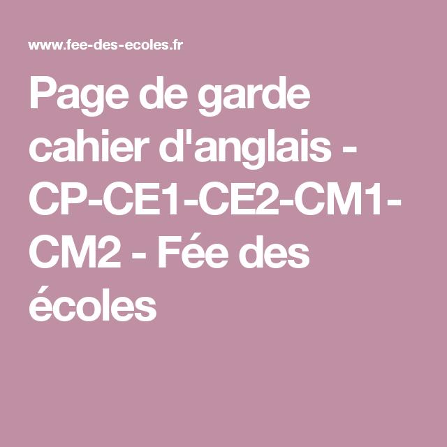 page de garde cahier d u0026 39 anglais