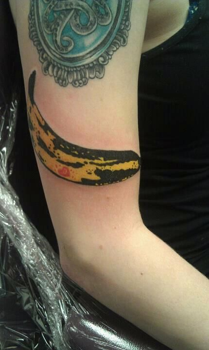 Andy Warhol banana tattoo by Ashley at Electric City Tattoo Emporium