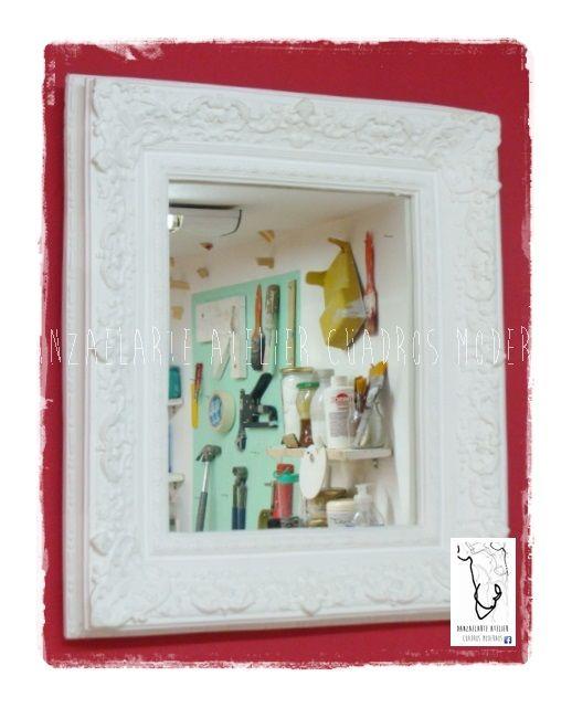 Espejo con marco de yeso. Medida final 46 x 38 cm | Cuadros a la ...