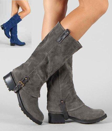Women Mid Heel Mid Calf Riding Boots