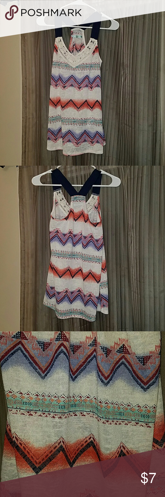 Ethnic/Tribal Print Tank Crocheted Neck, Navy Blue Straps Maurices Tops Tank Tops