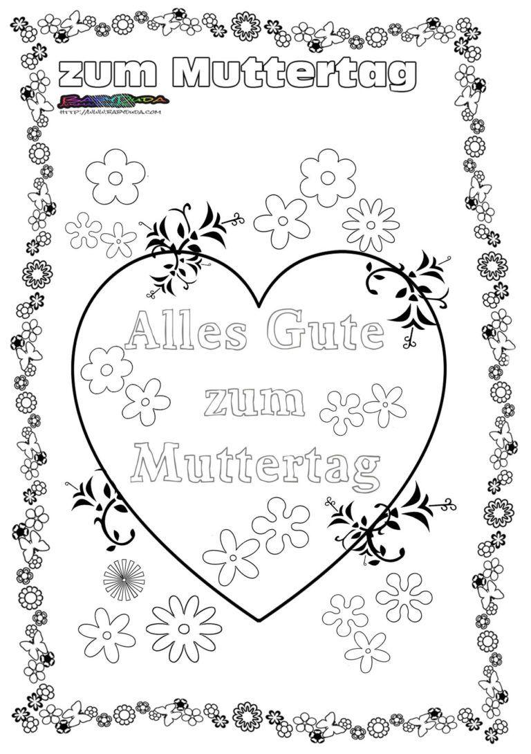 Muttertag Ausmalbild & Malvorlage ❦ Gruß mit Herz  BabyDuda