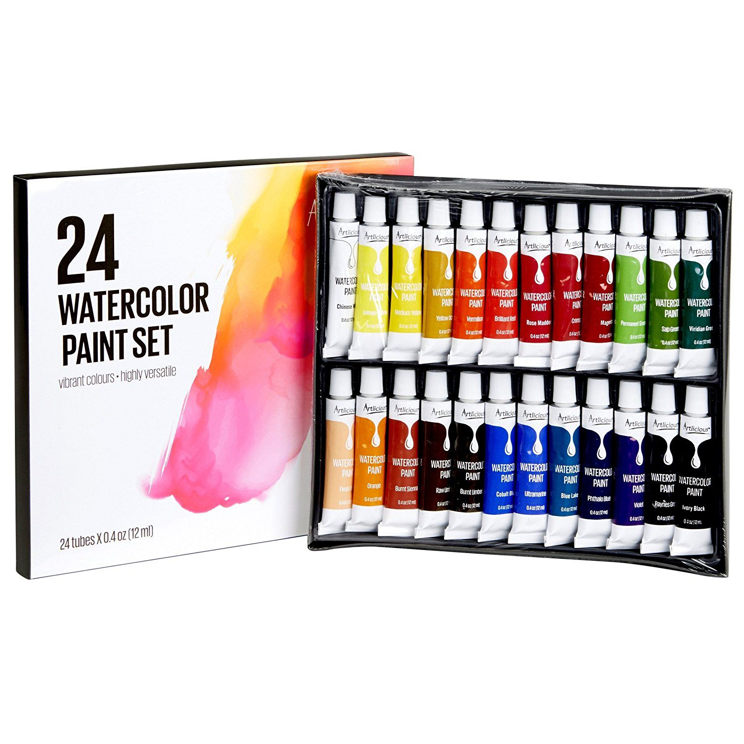 Amazon Com Artlicious 24 Tube Watercolor Paint Set Great For