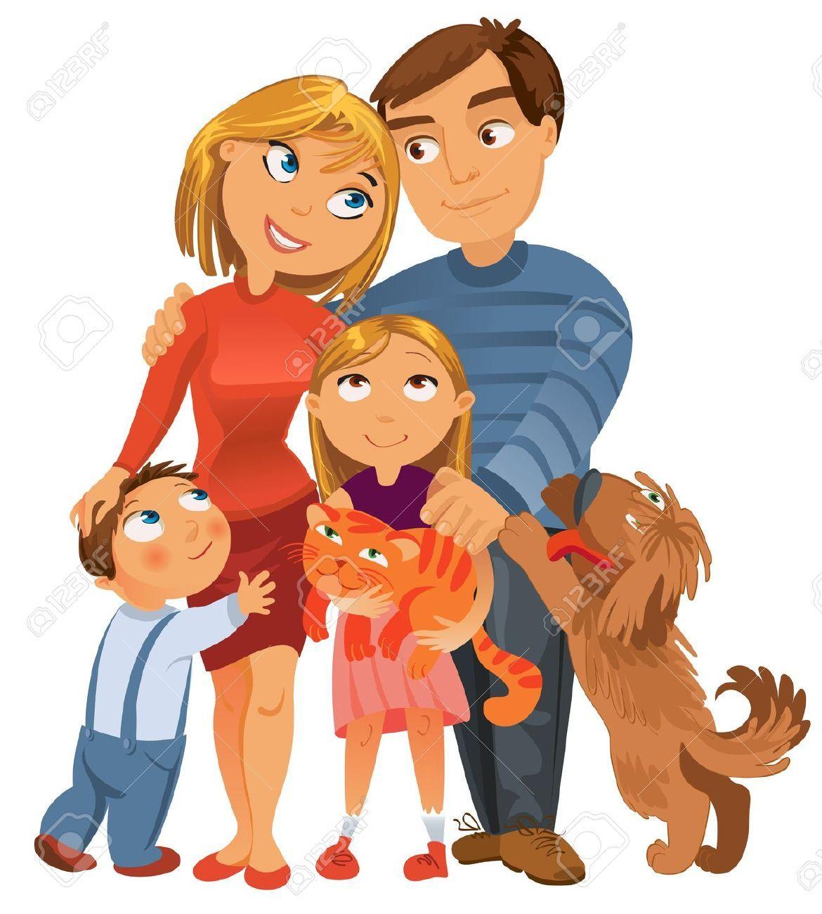 Formar Una Bonita Familia Familia Feliz Dibujo Familia