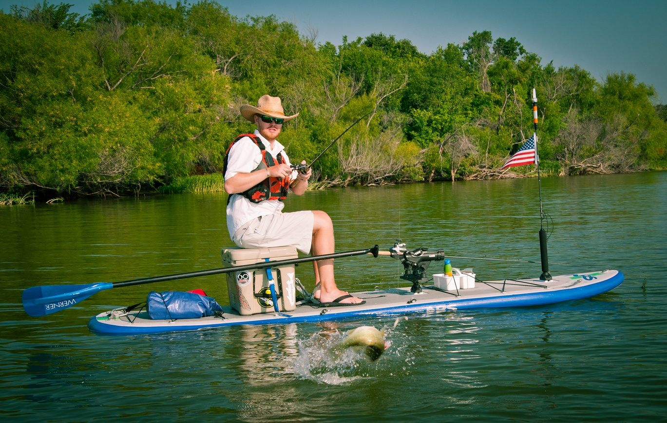 Nrs reel inflatable fishing sup i gotta get me some for Inflatable fishing paddle board