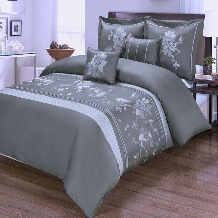 Modern Floral Embroidered 5 Piece Cotton Grey Duvet Cover Set