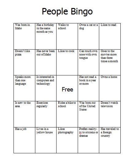 Back To School People Bingo Jeriwb People Bingo Editing Writing Bingo