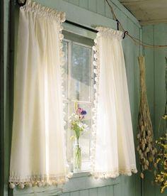 Tier Curtains Classic Ball Fringe PermaPress Tier Curtains - Classic ball fringe curtains