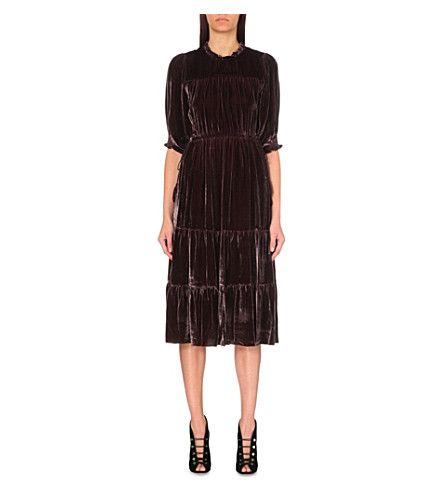 Ulla Johnson Paulina Frilled Neck Velvet Dress Ullajohnson Cloth Dresses