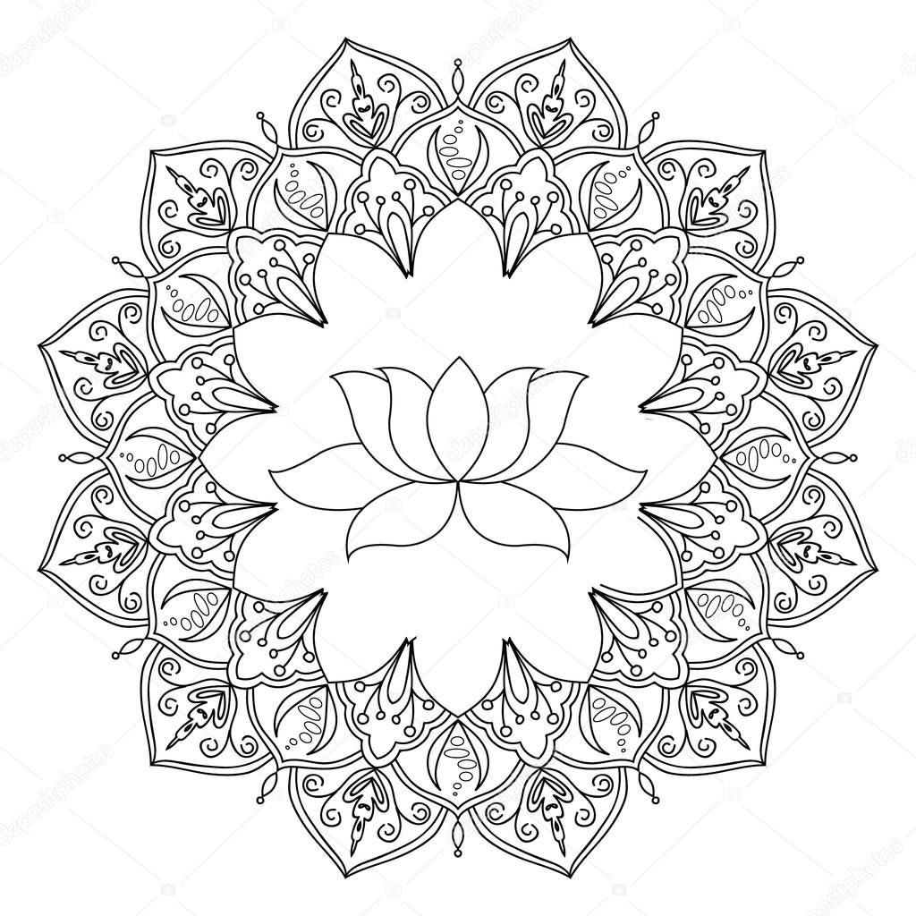 Lotus With Decorative Indian Ornament Mandala Pattern On White