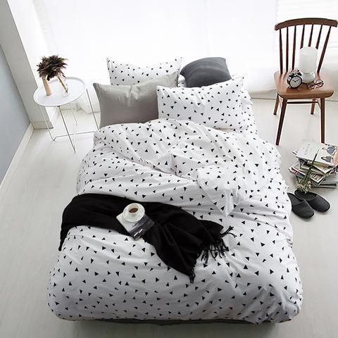 Black White Triangle 100 Cotton Bedding Set White Comforter Set Queen Duvet Sets Duvet Covers