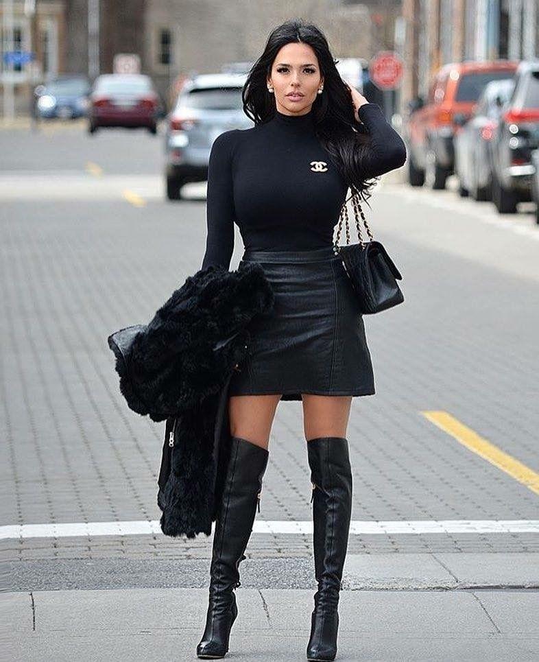 Flared black leather skirt and OTK