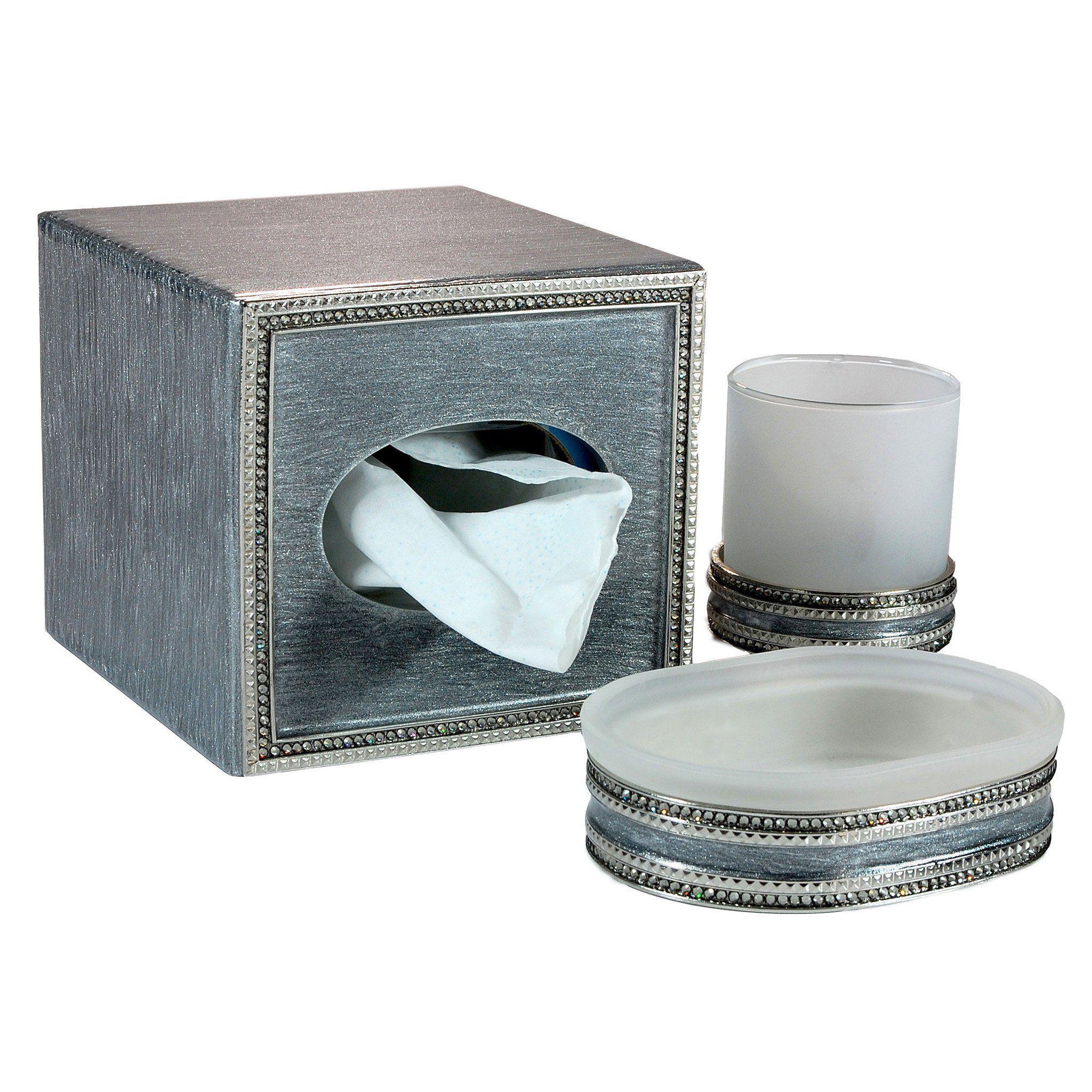 Mike And Ally Empire Bath Accessories Platinum Silver Black Diamond