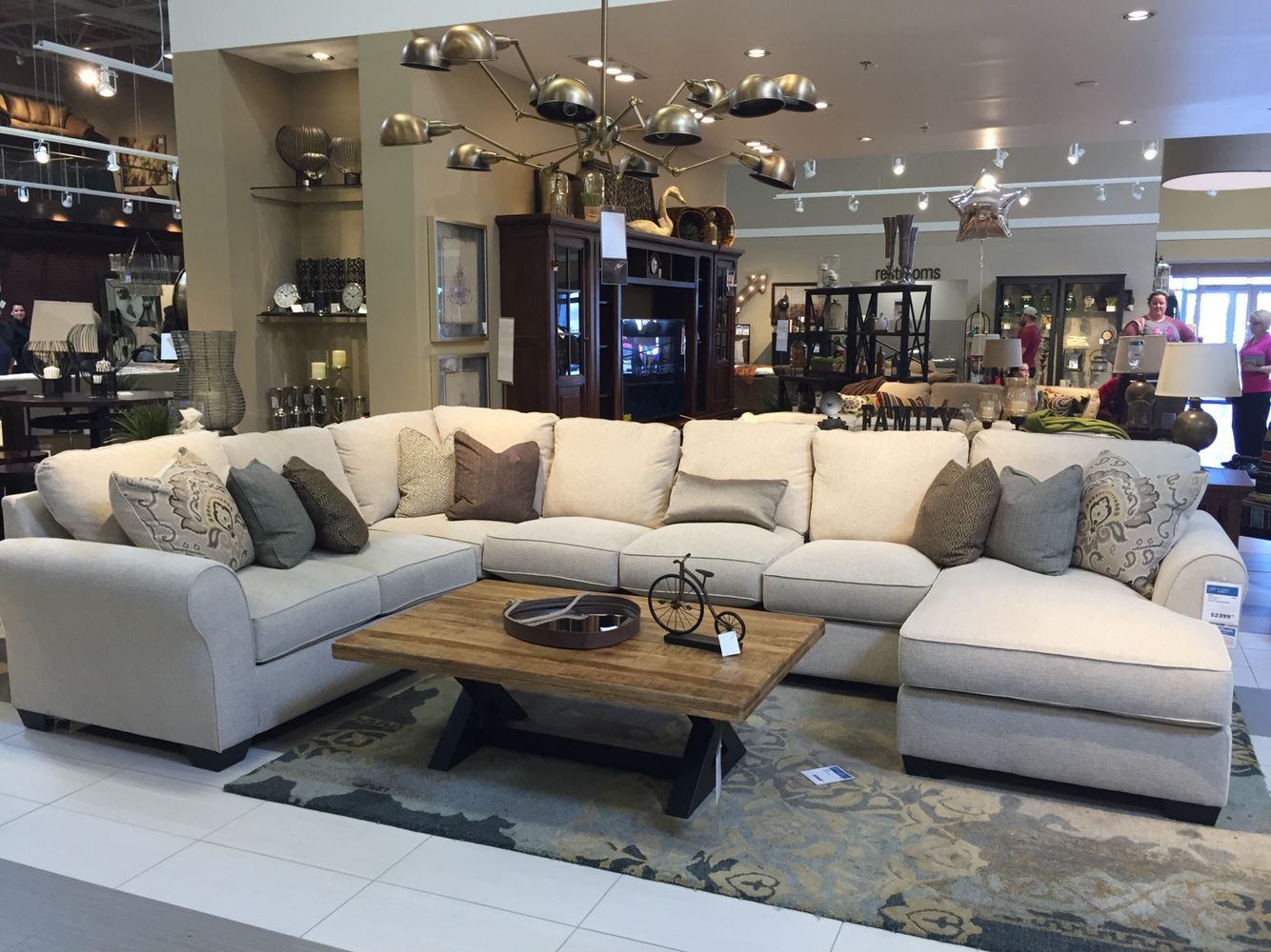 4 Piece Raf Chaise Sectional In Wilcot Linen Ashley Furniture
