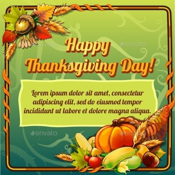 Happy Thanksgiving Day Card On a Green Background