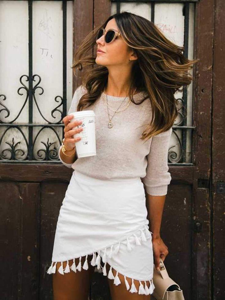 Hipster Tassels High Waist A Line Wraps Mini Skirt