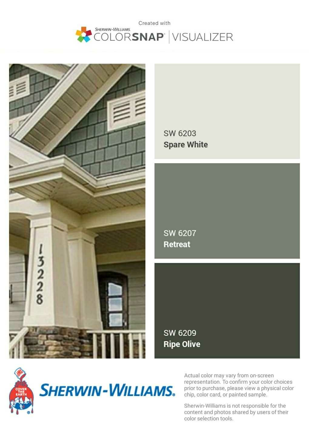 I Just Created This Color Palette With The Sherwin Williams Colorsnap Visualizer App House Paint Exterior Green House Exterior Exterior Paint Colors For House