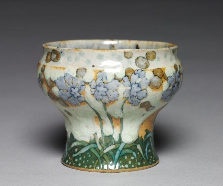 """Albert-Louis Dammouse (musée du Petit Palais, Paris) - Vase """"libellule et feuilles de vigne vers 1900"""