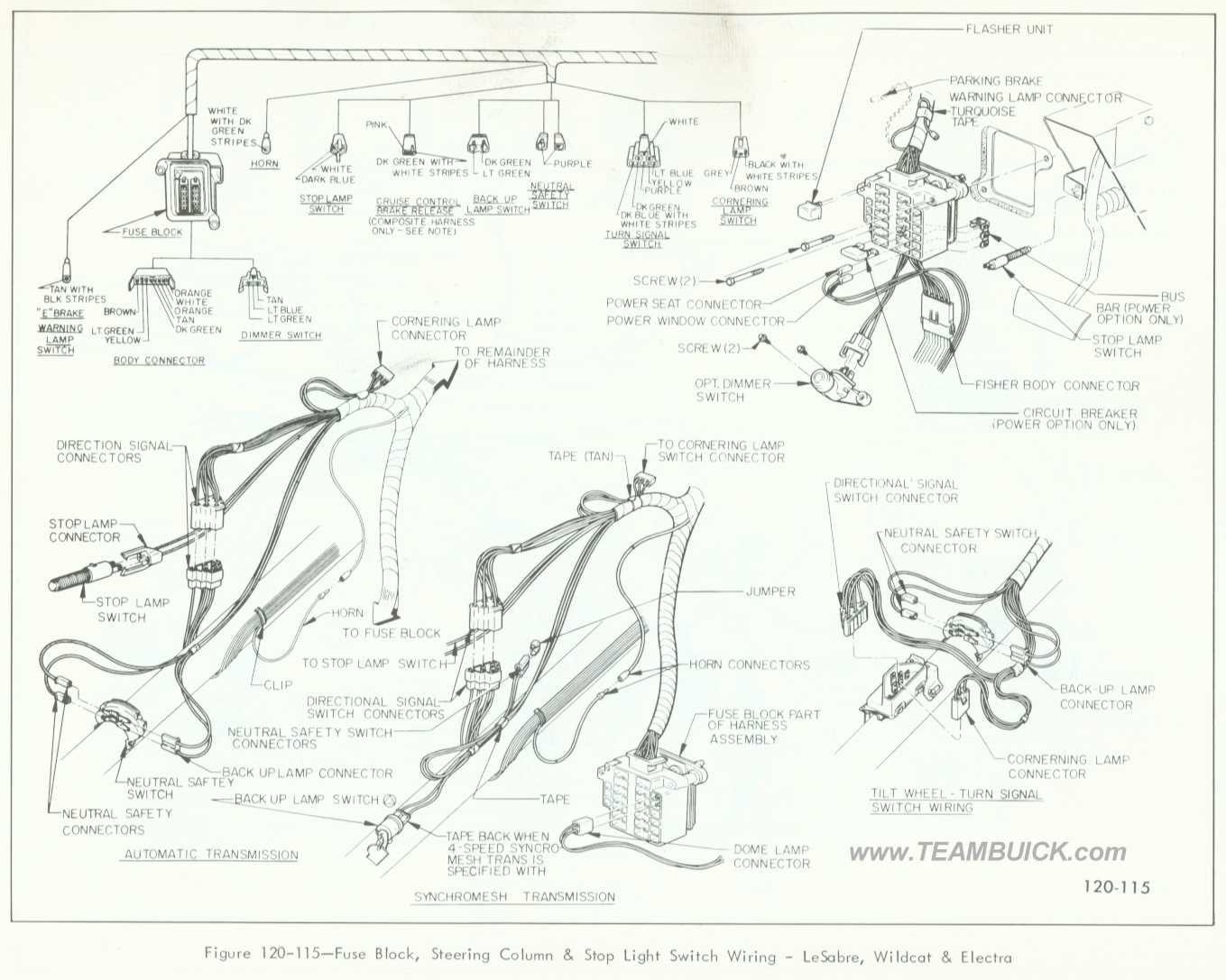 1966 Buick LeSabre, Wildcat, Electra, Fuse Block, Steering