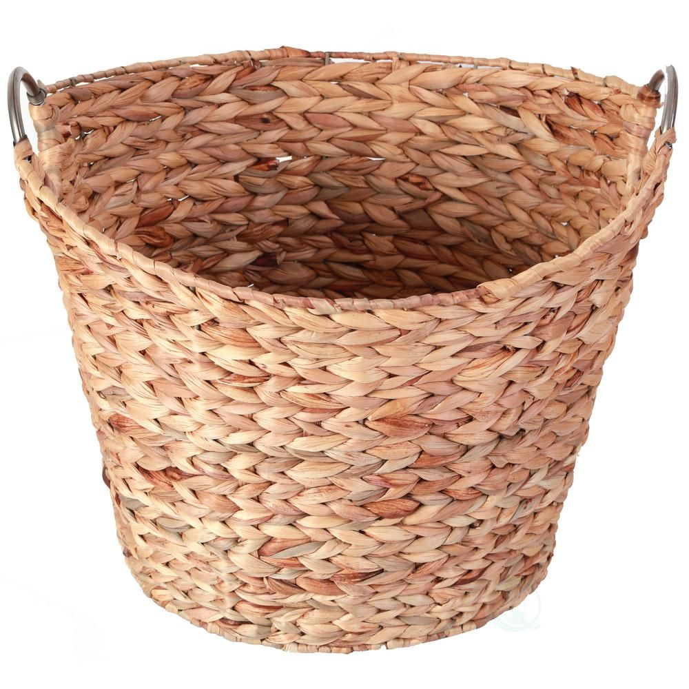Vintiquewise Large Round Water Hyacinth Wicker Laundry Basket Brown Wicker Laundry Hamper Wicker Wicker Baskets