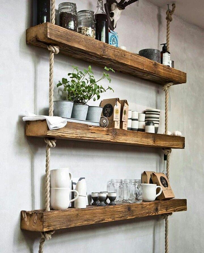 Repisa madera decoraci n de casa en 2019 decoracion for Repisas rusticas para cocina