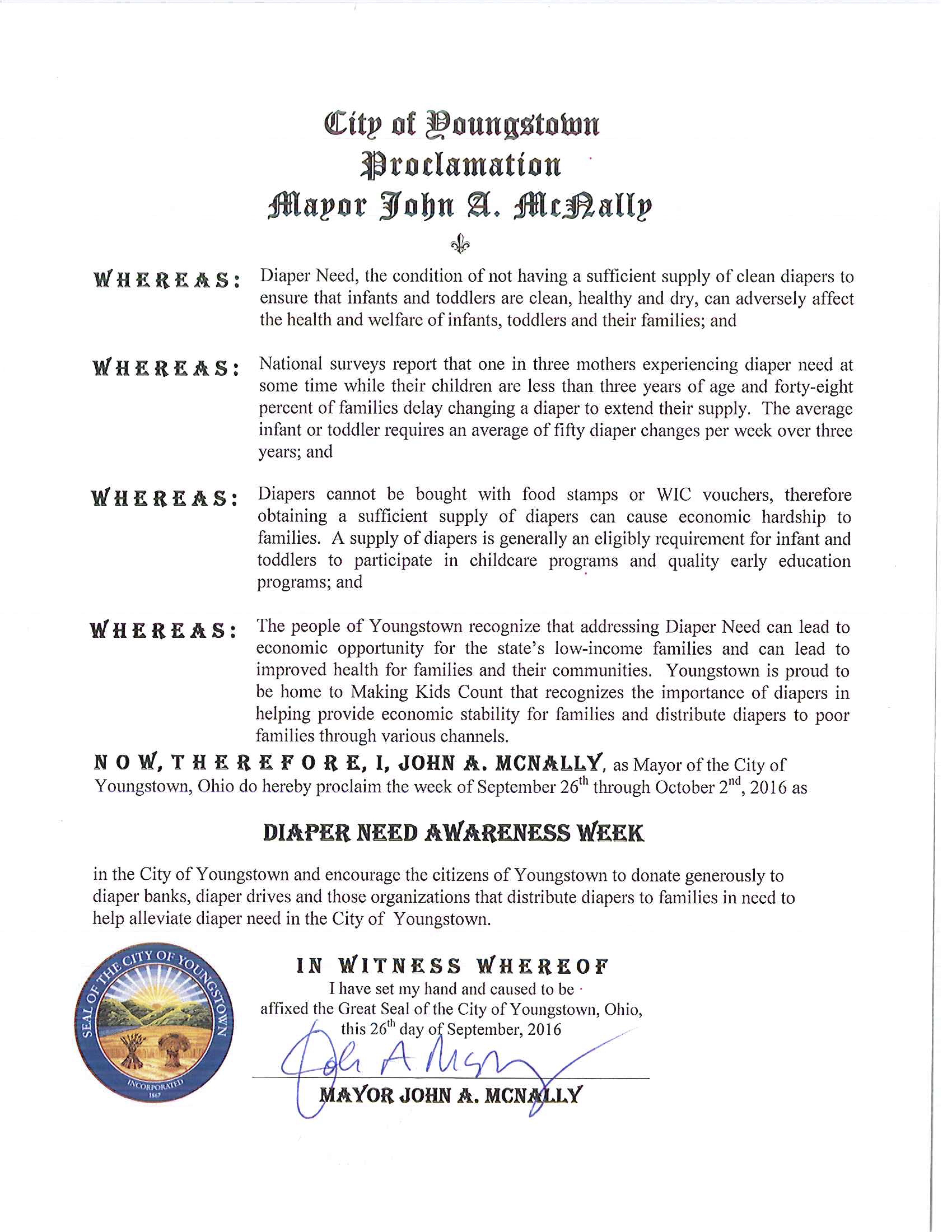 Youngstown, OH - Mayoral proclamation recognizing Diaper Need Awareness Week (Sept. 26 - Oct. 2, 2016) #DiaperNeed www.diaperneed.org
