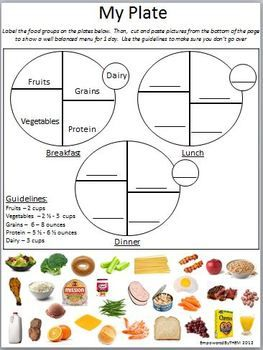 My Plate Cut and Paste | future job :) | Pinterest | Worksheets ...