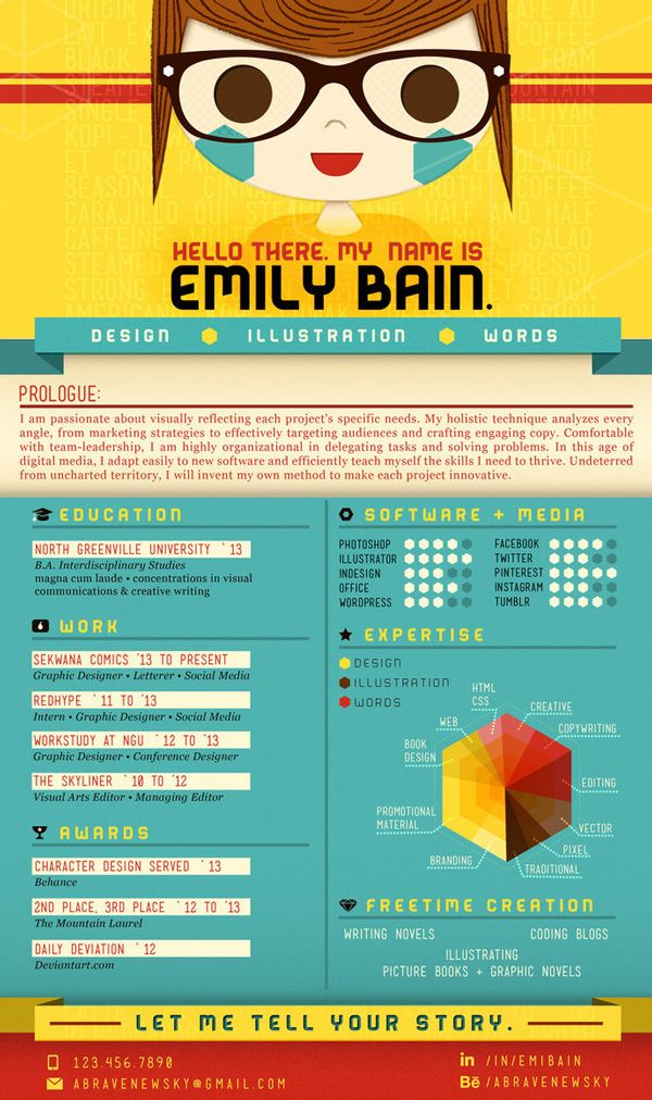 Very Bright And Bold Resume Design, Probably More Focused For An Artists  Presentation, But Still Quite Good. CV By Emily Bain, Via Behance  Unique Resume Designs