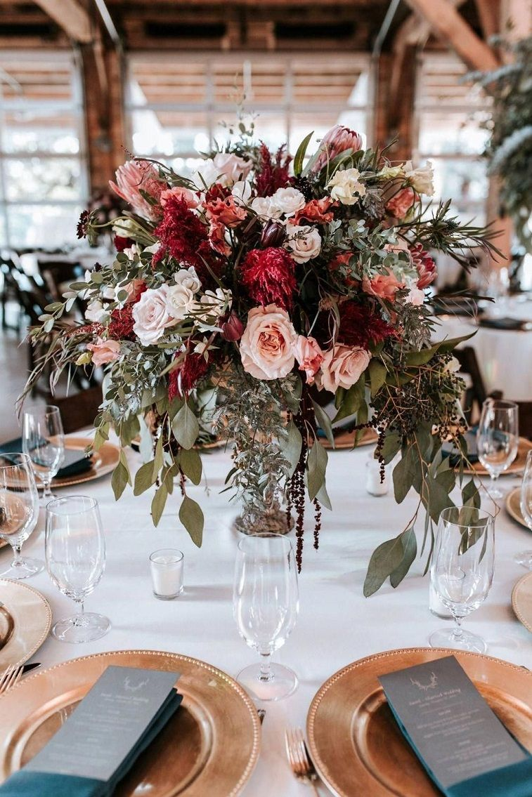 Burgundy + blush + peach wedding centerpieces and copper plates , autumn wedding table decor #wedding decor