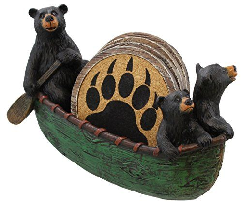 3 Black Bears Canoeing Coaster Set  4 Coasters Rustic Cabin Green Canoe Cub Decor ** You can get more details by clicking on the image.